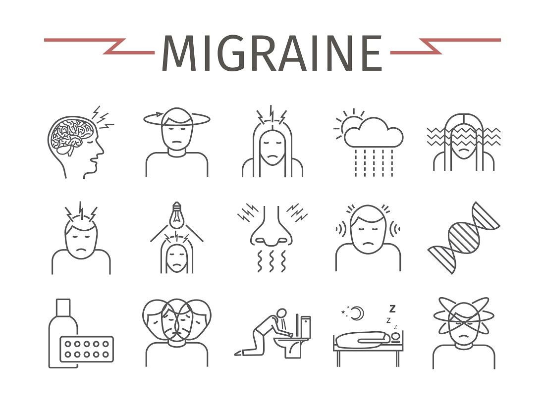 Tips voor migraine en voeding tekening