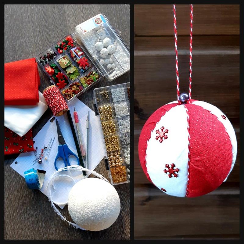 DIY Kerstbal van leuke stoffen maken