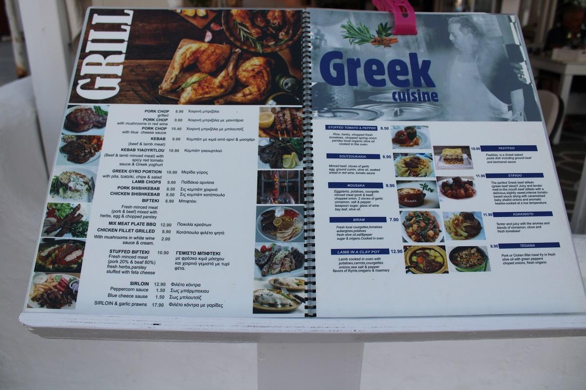 Tips voor lekkere en betaalbare restaurants op Kos Kristas menu