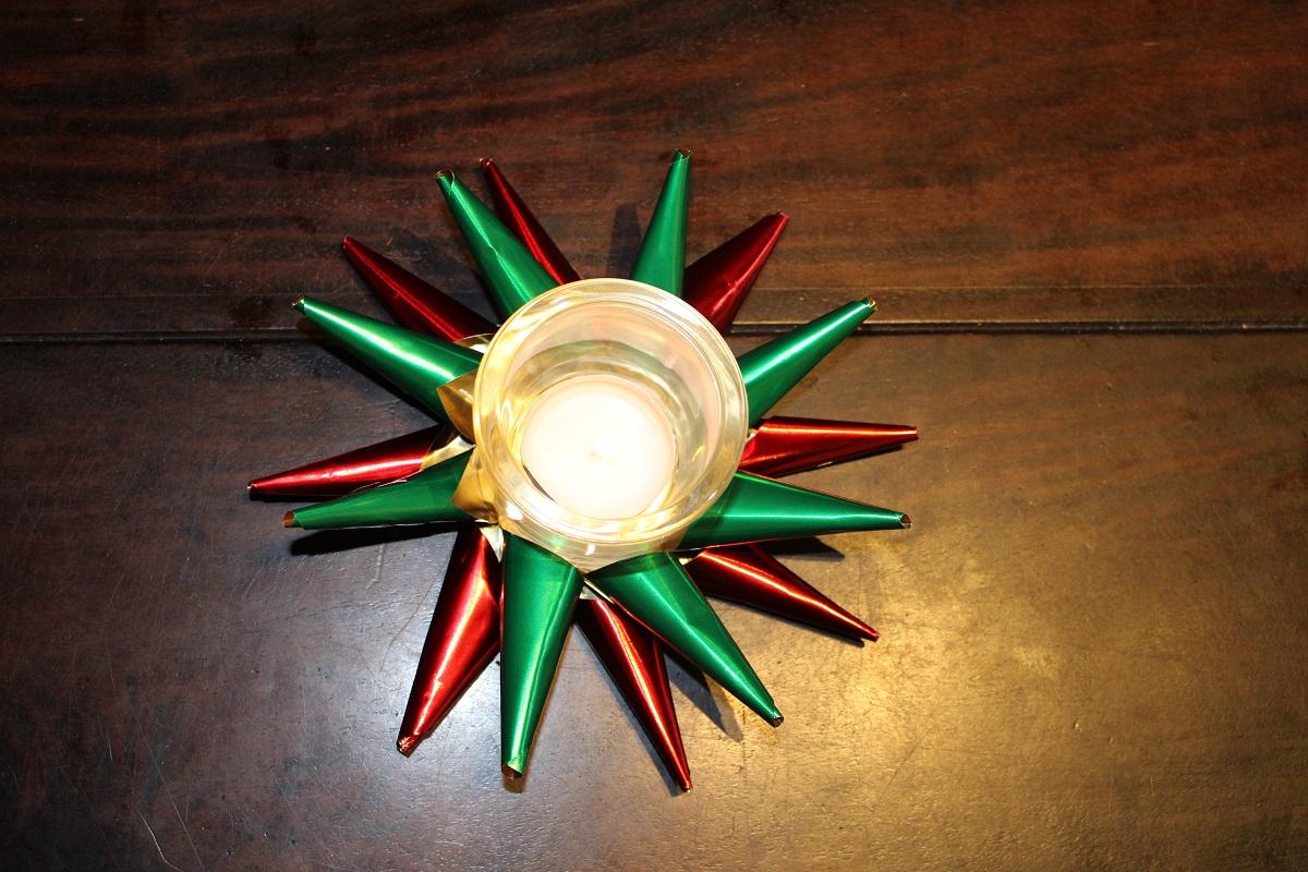 DIY 3D Kerstster theelichthouder verlicht