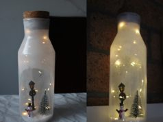 Kerst DIY winter in een fles met verlichting